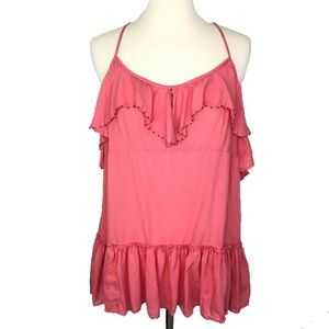 Free People Beaded Babydoll Top L Coral